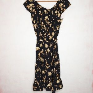 NWT Lauren Conrad M Floral Black Ruffled Dress